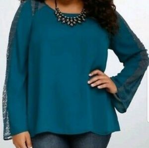 Blue Blouse with Lace Details